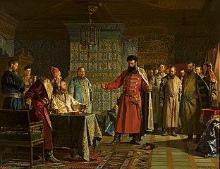 Sprzeczka Zacharego Łopunowa z carem Bazylim Szujskim na Kremlu