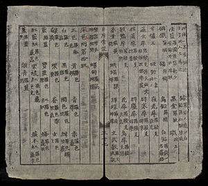 Chữ Nôm - A page from the bilingual dictionary Nhật dụng thường đàm (1851). Characters representing words in Hán (Chinese) are explained in Nôm (Vietnamese).