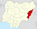 Map of Nigeria highlighting Adamawa State
