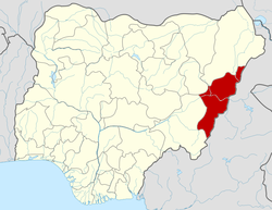 Location of Adamawa State in Nigeria
