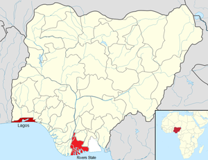 Ebola virus disease in Nigeria - Image: Nigeria Map Ebola 2014