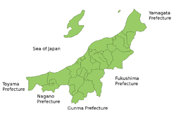Map of Niigata Prefecture.