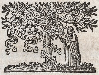 House of Elzevir - The famous Elsevier tree printer's mark, in a 1653 book. The modern Elsevier logo is based on this design.