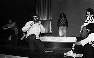 College of West Anglia - Stephen Fry, right, rehearsing A Midsummer Night's Dream at the Norcat in 1975