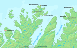 Map showing the location of Cape Nordkinn