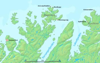 La posizione di Capo Nord, Knivskjellodden e Kinnarodden