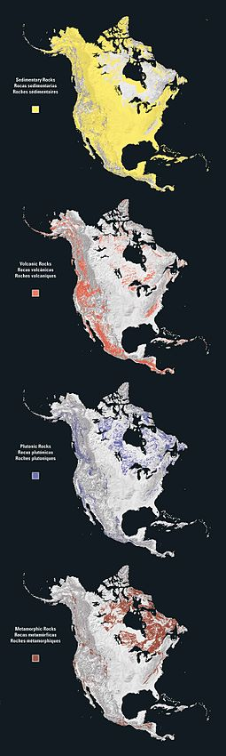 Sedimentary, volcanic, plutonic, and metamorphic rock types of North America North america rock types.jpg