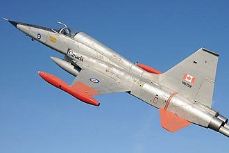 Canadair CF-5 - Canadian Forces CF-5A Freedom Fighter on display on a stand at Trenton, Ontario
