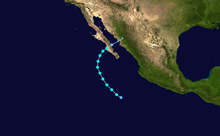 A map depicting the track of a landfalling tropical storm in mid-October.
