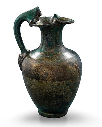 Oenochoe - Bronze trefoil-mouthed oinochoe with Dionysus head on handle attachment, 330-320 BC, part of the Vassil Bojkov collection, Sofia, Bulgaria