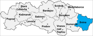 Nová Sedlica - Location of Snina District in the Prešov Region.