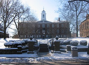 Rutgers University - Winter at Old Queens, the oldest building at Rutgers University in New Brunswick, New Jersey, built between 1809–1825. Old Queens houses much of the Rutgers University administration.