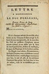 Olympe de Gouges: Lettre a monseigneur le duc d'Orléans, premier prince du sang