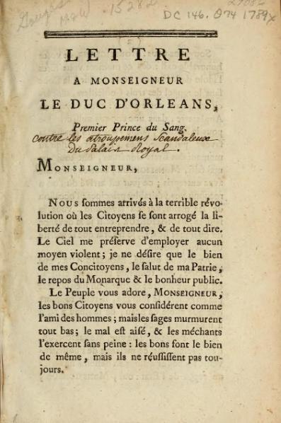 File:Olympe de Gouges - Lettre a Monseigneur le duc d'Orleans premier prince du sang, 1789.djvu