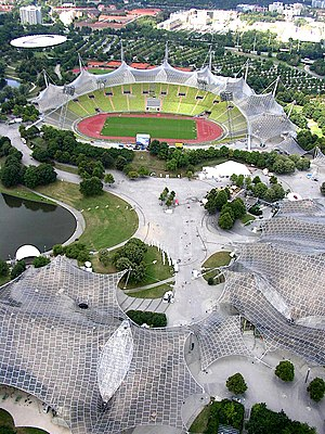 Olympiapark (Munich) - Partial view of The Olympiapark (a view down of the Olympiaturm to the Olympic Stadium, on the right: Olympia Halle, left: Schwimmhalle )