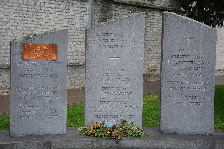 Oorlogsmonument, Kerkplein, Zingem