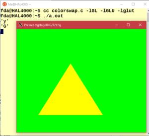 987a71d6a3a5ed OpenGL sous Windows 10   le programme interactif colorswap.c illustrant  l article OpenGL de la Wikipédia s exécute sans problème en WSL faisant  appel un ...