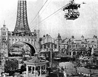 An aerial tramway connected the amusement park with the original Tsutenaku Tower. The park closed in 1923; the tower was dismantled in 1943.