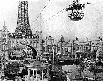 Shinsekai - Aerial tramway connecting the original Tsutenkaku Tower with Luna Park, Osaka in Shinsekai, in the 1910s