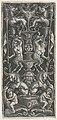 Ornament met kandelaber waarop mannelijke en vrouwelijke satyr zitten boven voet met twee leeuwachtige wezens met horens en twee putti op fabeldieren met vogelkoppen.jpeg