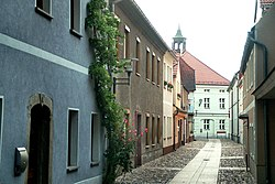 Ortrand, the Kirchgasse, view to the town hall.jpg