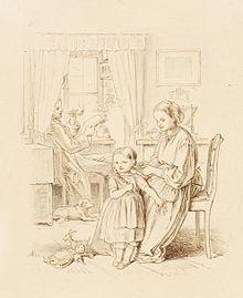 gravure représentant une famille, au premier plan une jeune fille, à ses côtés sa mère, au fond son père