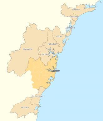 Divisions of the Australian House of Representatives - Electoral divisions: Outside Sydney area