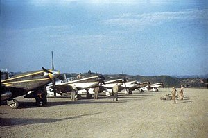 118th Airlift Squadron - U.S Army Air Forces North American F-6 Mustang aircraft of the 118th Reconnaissance Squadron at Laohwangping, China, in June 1945.