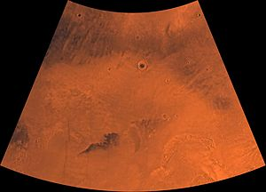 Diacria quadrangle - Image of the Diacria Quadrangle (MC-2). The southeastern part is marked by aureole deposits of the largest known volcano in the solar system, Olympus Mons.