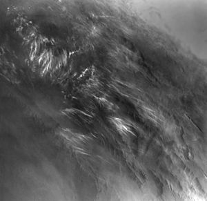 Climate of Mars - Martian morning clouds – Viking Orbiter 1 (taken in 1976)