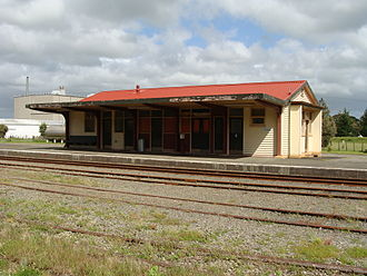 Pahiatua railway station - Pahiatua's replacement station building, opened in 1971.