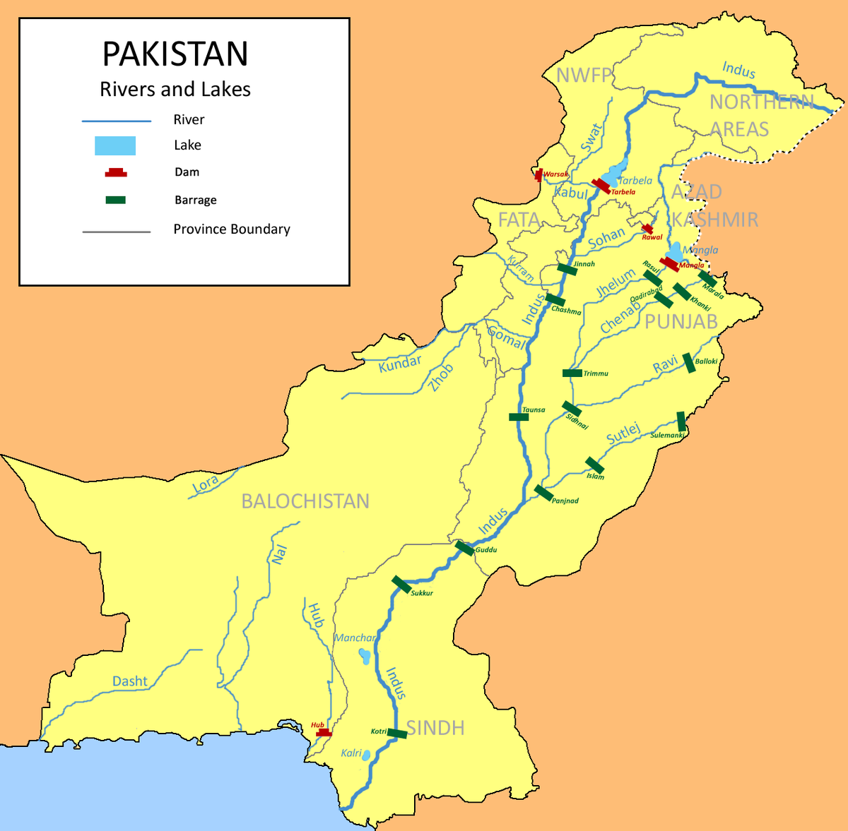 List Of Rivers Of Pakistan Wikipedia - Map pakistan