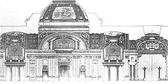"Émile Bénard - 'Palacio Legislativo Federal'. Section through the ""Halle des Pás Perdús."