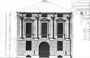 Palazzo Schio - Palazzo Schio in Vicenza, facade designed by Andrea Palladio (drawing by Ottavio Bertotti Scamozzi, 1776)