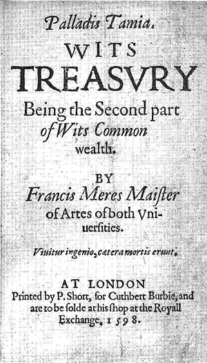 Title page to the 1598 edition of Palladis Tamia by Francis Meres, which contains one of the earliest descriptions of Marlowe's death. Palladis Tamia 1598.jpg