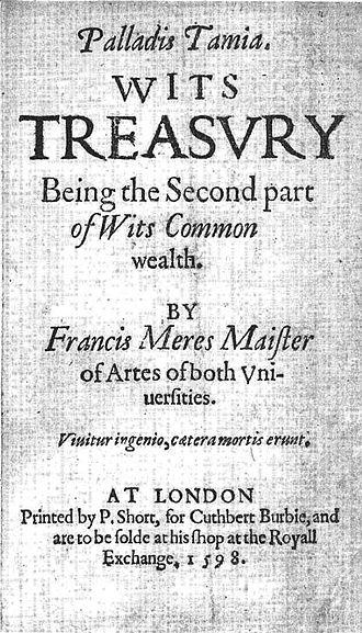 Palladis Tamia - Palladis Tamia (1598) title page
