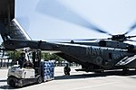 Pallets of water are loaded onto an MH-53E Sea Dragon helicopter. (36903850481).jpg