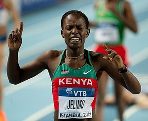 Pamela Jelimo - Jelimo celebrating her win at the 2012 World Indoor Championships.