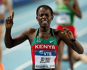 Pamela Jelimo - Jelimo celebrating her win at the 2012 World Indoor Championships.