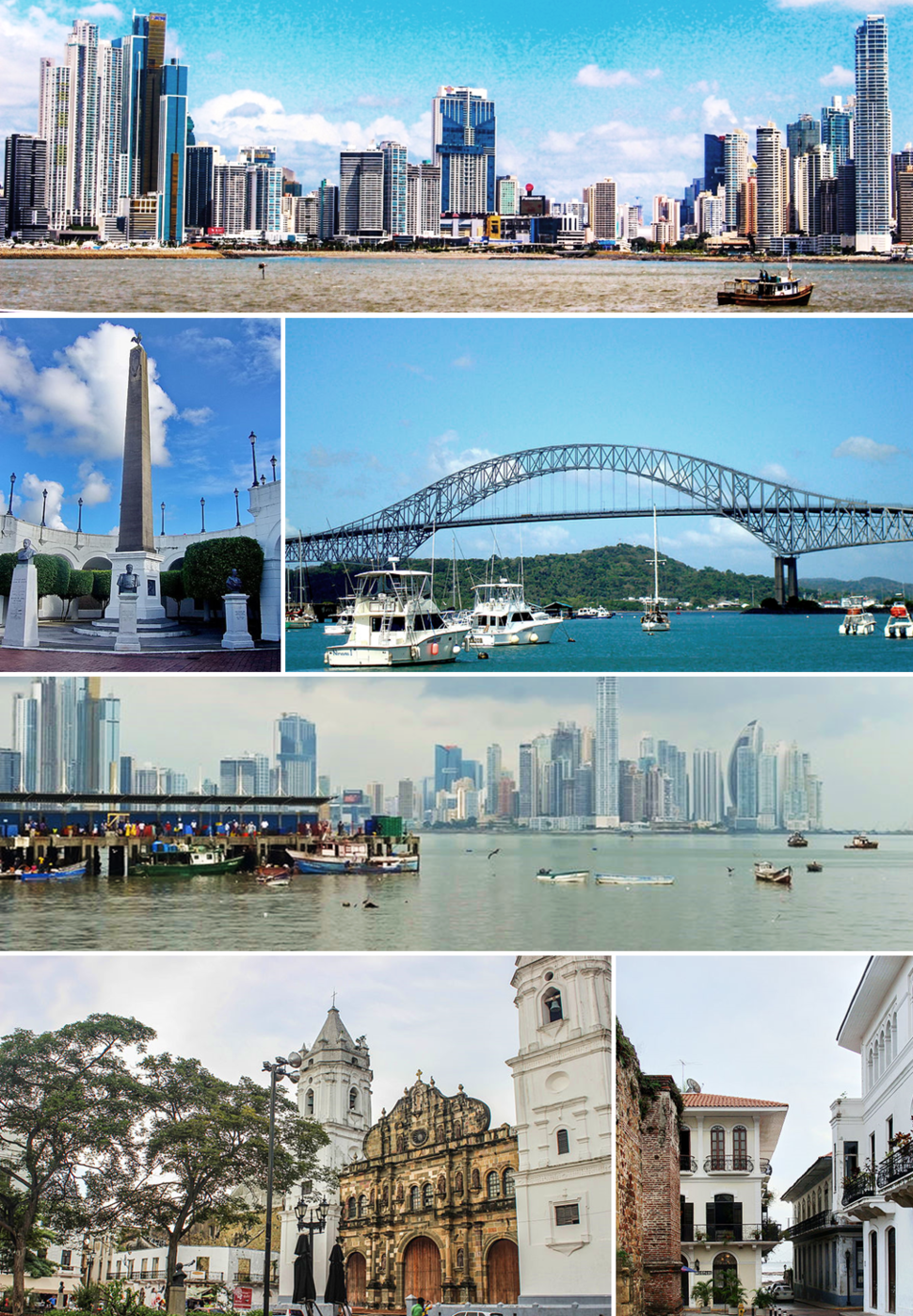 """Top to bottom, left to right: Panama Canal, Skyline, Bridge of the Americas, The bovedas, Casco Viejo of Panama (spanish for """"old quarter"""") and Metropolitan Cathedral of Panama."""