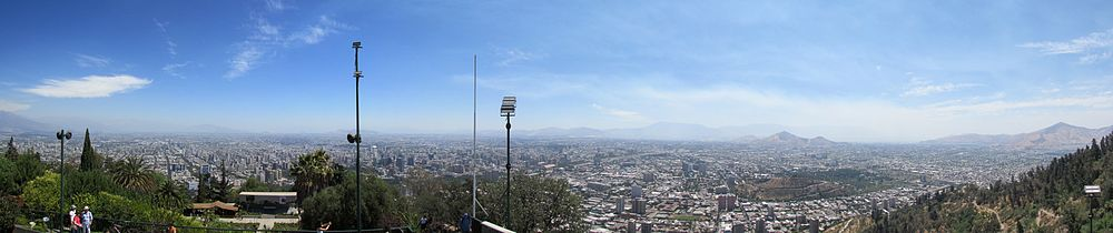 Panorama of Santiago from San Cristóbal Hill (South view Panorama - Sphere projection).jpg