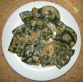 Leaf vegetable - Ligurian pansoti filled with preboggion boiled greens and served with nut sauce.
