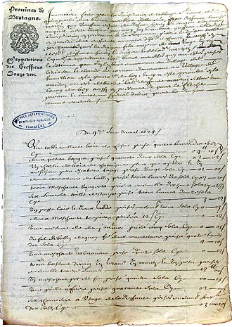 Revolt of the papier timbré - An example of one of the first acts produced on papier timbré at Quimperlé (9 April 1674, posthumous inventory edited by the jurisdiction of the abbaye de Sainte-Croix de Quimperlé)