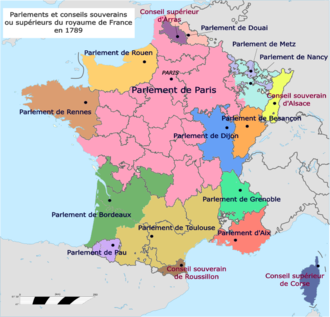 The regional Parlements in 1789; note area covered by the Parlement de Paris Parliaments and Sovereign Councils of the Kingdom of France in 1789 (fr).png