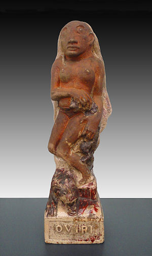 Oviri (Gauguin) - Paul Gauguin, Oviri (Sauvage), 1894, partially glazed stoneware, 75 x 19 x 27 cm (29.5 x 7.5 x 10.6 in), Musée d'Orsay, Paris