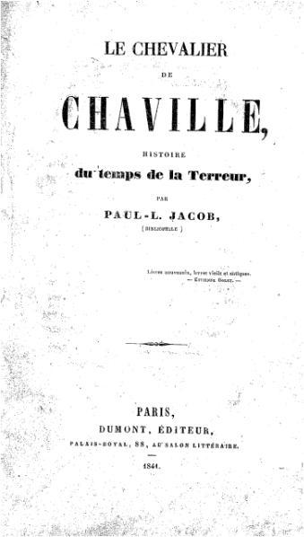 File:Paul Lacroix - Le chevalier de Chaville, Dumont, 1841.djvu