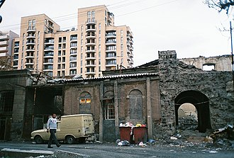 Historical districts being demolished and replaced with modern buildings Pavstos Byuzand street.jpg