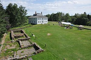Fort William Henry (Pemaquid Beach, Maine) - View of Fort House and foundation remnants of Fort Frederick