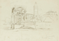 Pencil drawing of Kubelie Mosque and the Clock Tower (Kavajë).png