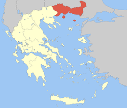 Location of East Macedonia and Thrace